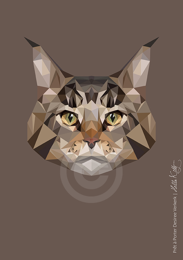 illustration geometric cat Verkerk